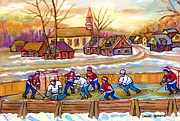 Hockey Art Paintings - Canadian Village Scene Hockey Game Quebec Winter Landscape Outdoor Hockey Carole Spandau by Carole Spandau