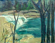 Park Scene Painting Originals - Canajoharie Creek near Village by Betty Pieper
