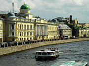 Canal And Historic Buildings Saint Petersburg Russia Print by Robert Ford