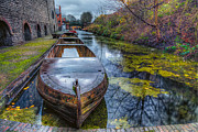 Bridge Digital Art Posters - Canal Boat Poster by Adrian Evans