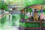 Canal Painting Originals - Canal Boat in Richmond by John D Benson