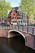 Residential Structure Posters - Canal Bridge and Houses in Amsterdam Poster by Artur Bogacki