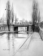 Winter Scene Drawings Metal Prints - Canal Bridge in Paris Metal Print by Mark Lunde