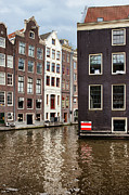 Old Home Place Posters - Canal Buildings in Amsterdam Poster by Artur Bogacki