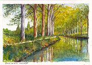 Plane Paintings - Canal du Midi at Toulouse France by Dai Wynn