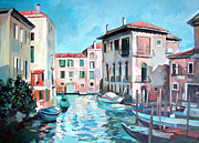Gondola Mixed Media Framed Prints - Canal Framed Print by Filip Mihail