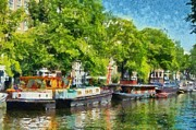 Netherlands Paintings - Canal in Amsterdam by George Atsametakis