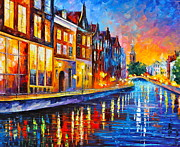 Town Canal Framed Prints - Canal in Amsterdam Framed Print by Leonid Afremov
