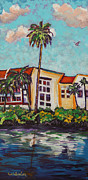 Florida Paintings - Canal Palms by Eve  Wheeler