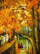 Food And Beverage Art - Canal Rowing by Dragica  Micki Fortuna
