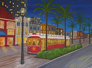 Canal Street Paintings - Canal Street Car Line by Valerie Chiasson-Carpenter