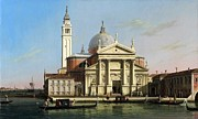 Caravaggio Posters - Canaletto The Church of S Giorgio Maggiore Venice with sandalos and gondolas  c 1748 Poster by MotionAge Art and Design - Ahmet Asar