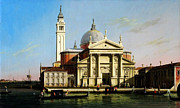 Gold Foil Prints Framed Prints - Canaletto The Church of S Giorgio Maggiore Venice with sandalos and gondolas  Framed Print by MotionAge Art and Design - Ahmet Asar