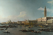 Gold Foil Prints Framed Prints - Canaletto Venice The Basin of San Marco on Ascension Day c 1740  Framed Print by MotionAge Art and Design - Ahmet Asar