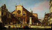 Gold Foil Prints Framed Prints - Canaletto Venice The Campo SS Framed Print by MotionAge Art and Design - Ahmet Asar