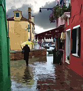 Flooding Digital Art Prints - Canals Flooding in Venice Print by John Parks