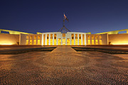 Canberra Posters - Canberra Australia Parliament House Twilight Poster by Colin and Linda McKie