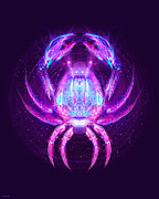 Zodiac Digital Art - Cancer - Zodiac Lightburst by Ifourdezign