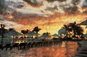 Umbrellas Digital Art - Cancun Sunrise by Virginia MacDonald