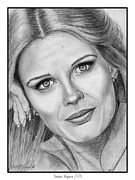 Closeups Drawings Framed Prints - Candace Bergen in 1976 Framed Print by J McCombie