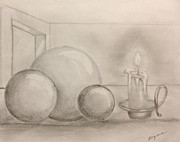 Balls Drawings Posters - Candle and balls Poster by Bozena Zajaczkowska