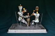 Wine Glasses Sculpture Posters - Candle light Love  Poster by Gary  GBLET Bartlett