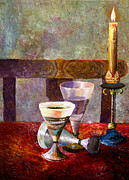 Custom  Studio Paintings - Candle on the Table by Vladimir Volosov