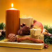 Christmas Greeting Posters - Candle with gifts Poster by Wim Lanclus