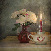 Hurricane Lamp Posters - Candlelight Poster by Betty LaRue