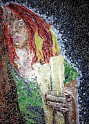 Mosaic Portrait Glass Art - Candlelight by Monique Sarfity