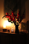 Flower Still Life Prints Posters - Candles and Orange Gladiolus Poster by Ron McMath
