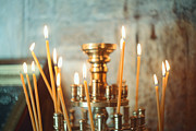 Byzantine Icon Photos - Candles by Ekaterina Planina