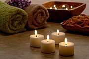 Towels Prints - Candles in a Spa Print by Olivier Le Queinec