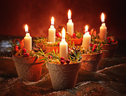 Christmas Photo Posters - Candles In Terracotta Pots Poster by Christopher and Amanda Elwell