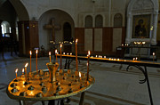Tsminda Sameba Cathedral Photo Metal Prints - Candles inside the Tsminda Sameba Cathedral Tbilisi Metal Print by Robert Preston