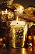 Sandra Cunningham - Candles lit with a sparkling gold theme