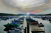 Boats At Dock Posters - Candlewood Lake Poster by Diana Angstadt