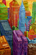 Twin Towers Trade Center Painting Metal Prints - Candy Apple Metal Print by Jeffrey S Perrine
