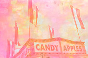 Cotton Candy Festival Art Prints - Candy Apples Carnival Festival Fair Stand  Print by Kathy Fornal