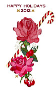 Candy Digital Art - Candy Cane and Roses by Anne Norskog