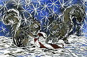 Relief Print Painting Prints - Candy Cane and Two Squirrels a block print in color Print by Ellen Miffitt