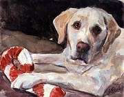 Yellow Labrador Retriever Prints - Candy Cane Print by Molly Poole