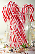 Ball Jar Posters - Candy Canes Poster by June Marie Sobrito