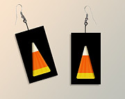Trick Or Treat Digital Art Originals - Candy Corn Paper Earrings by Melissa A Benson