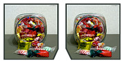 Candy Digital Art - Candy Jar - Cross your eyes and focus on the middle image by Brian Wallace