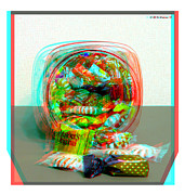 Candy Digital Art - Candy Jar - Use Red-Cyan filtered 3D glasses by Brian Wallace