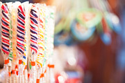 Candy Sticks At German Christmas Market Print by Susan  Schmitz