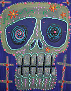 Candy Painting Posters - Candy Sugar Skull Poster by Laura Barbosa