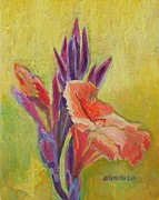 Canna Lily Mixed Media Posters - Canna Lily Poster by Janet Ashworth