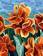 Cannas Framed Prints - Cannas Red Orange Framed Print by Tim Gilliland
